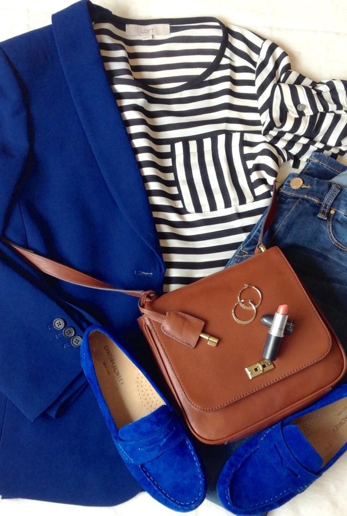 cobalt blue blazer and stripes