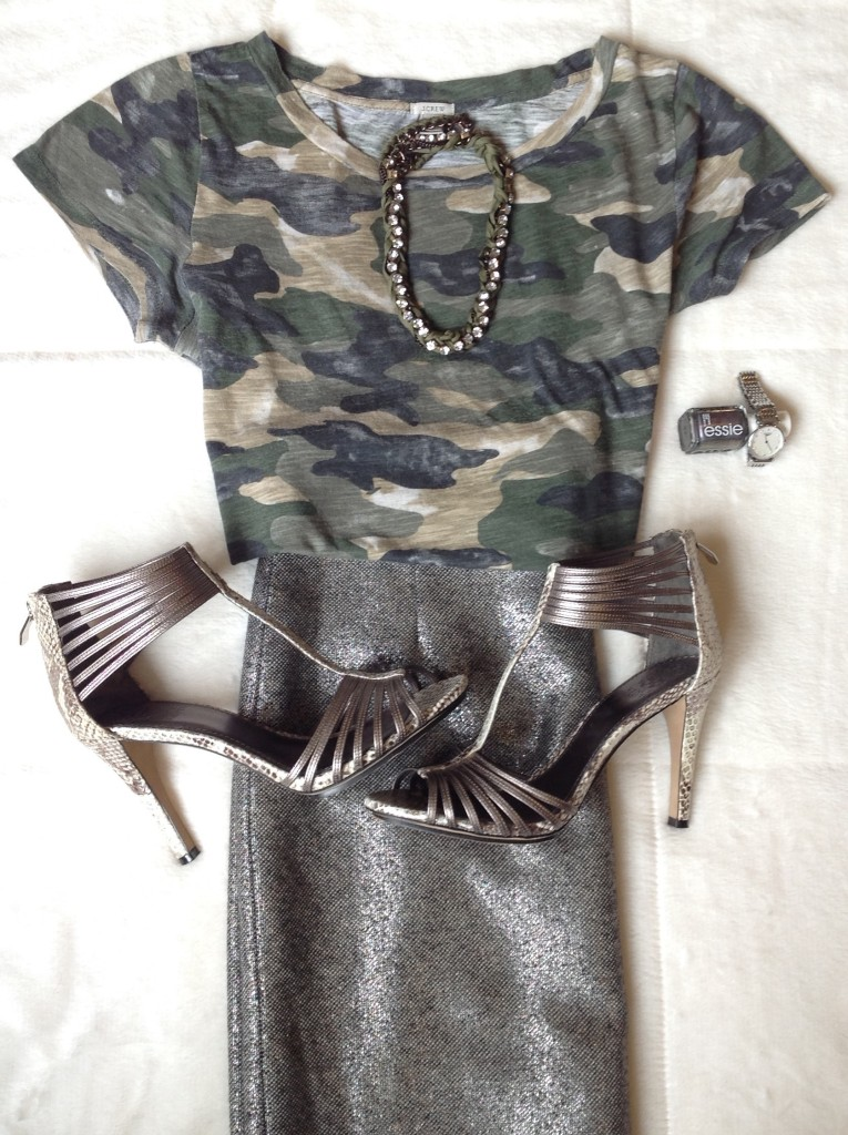 Silver skirt with camouflage top