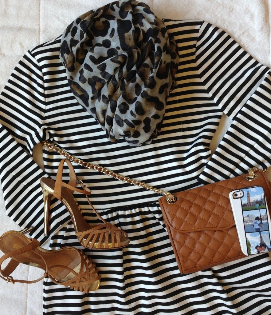 Black and white stripe dress with brown details