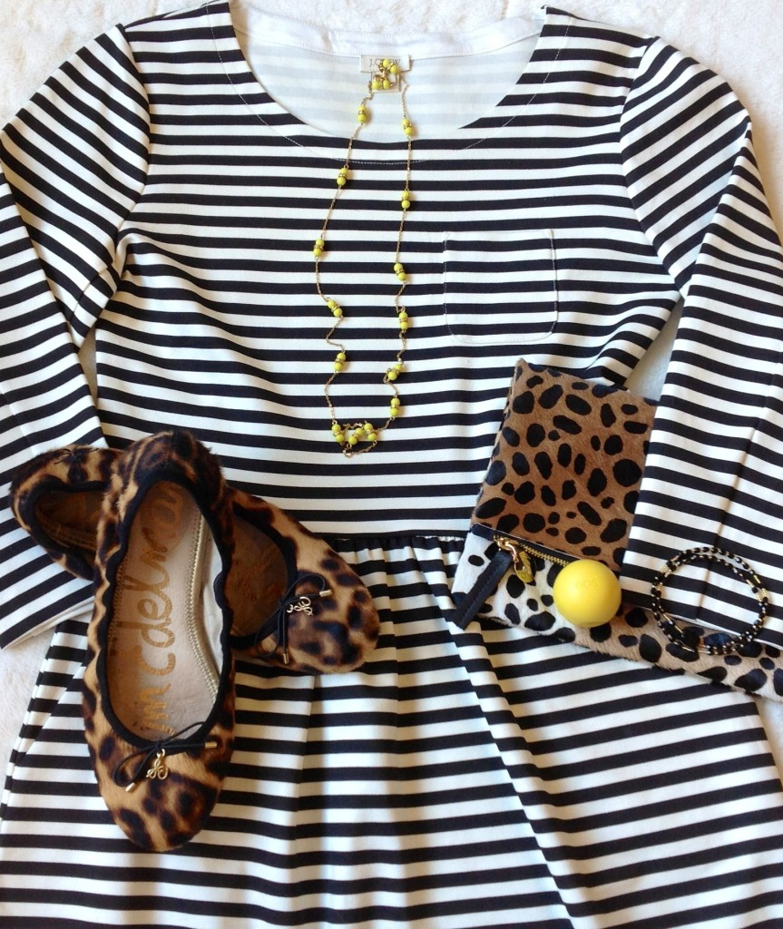 Black and White Stripe dress with leopard print