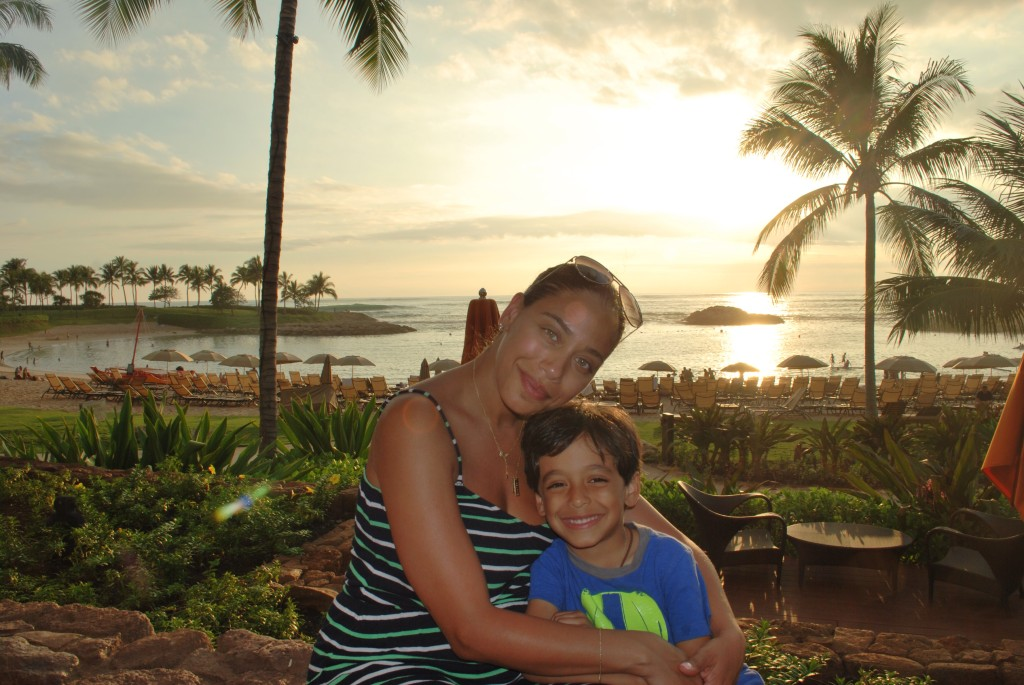 Aulani sunset in Hawaii with kids