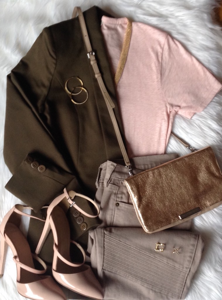 olive and pink outfit