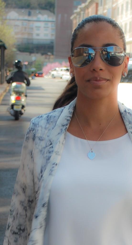 mirrored shades and white shirt