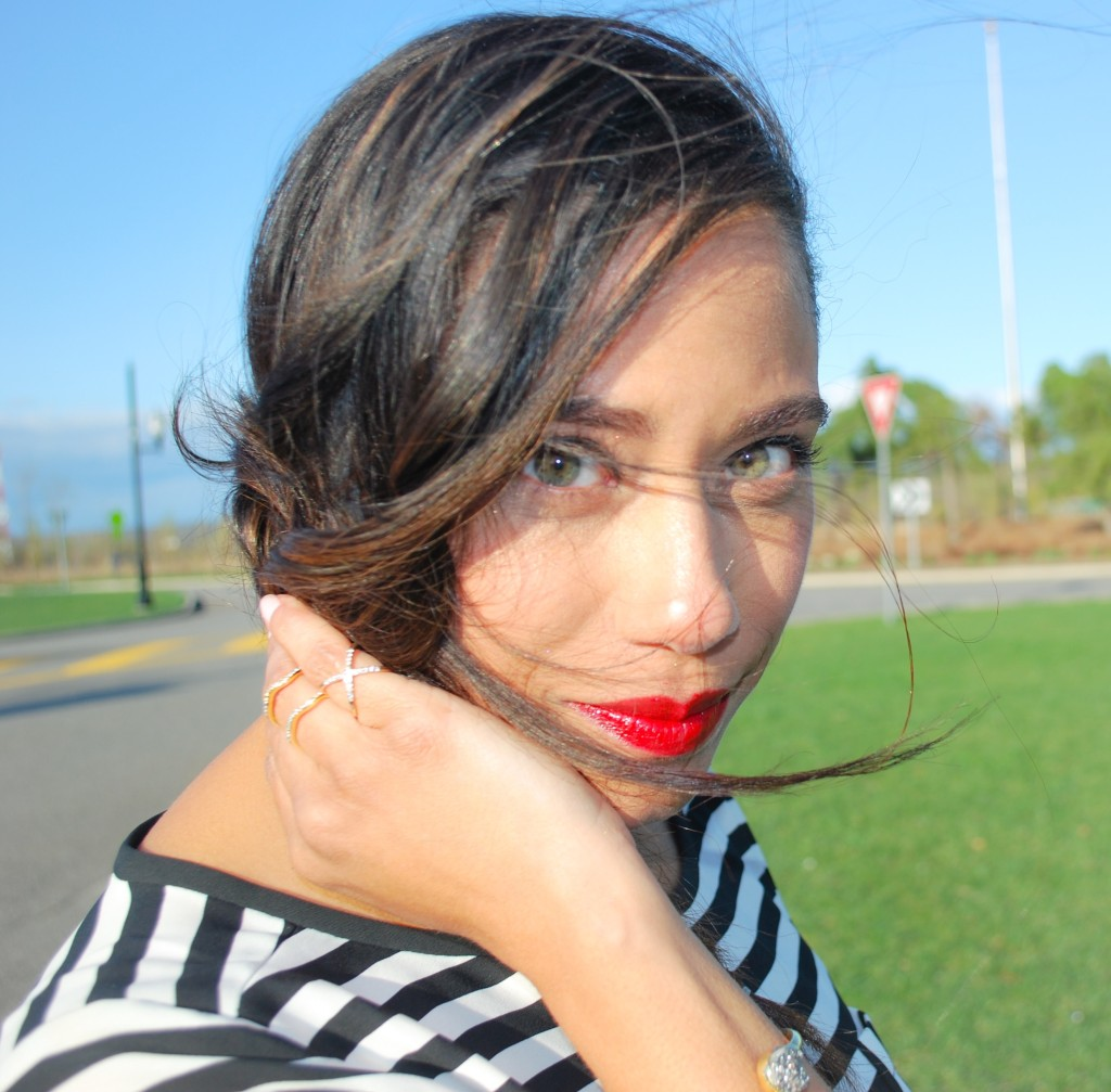 Stripes and red lips