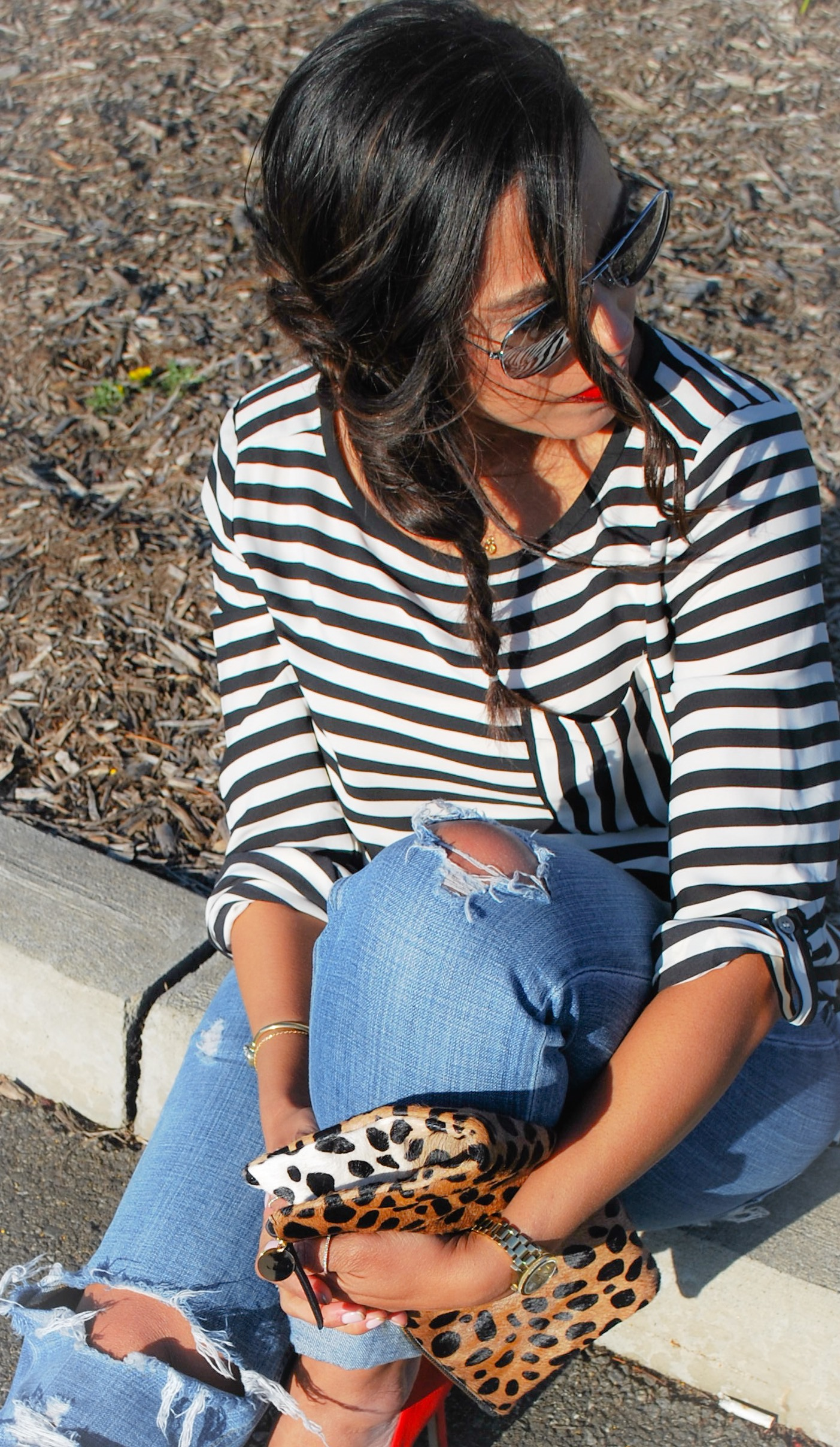 This Season's Gold // stripe top and leopard print