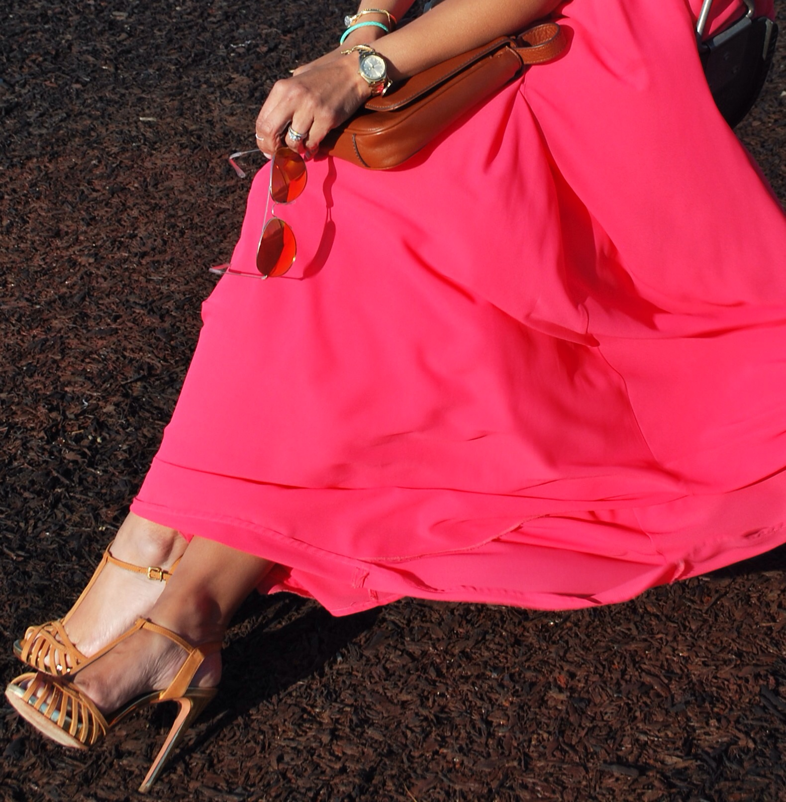 This Season's Gold // chambray shirt and pink maxi skirt