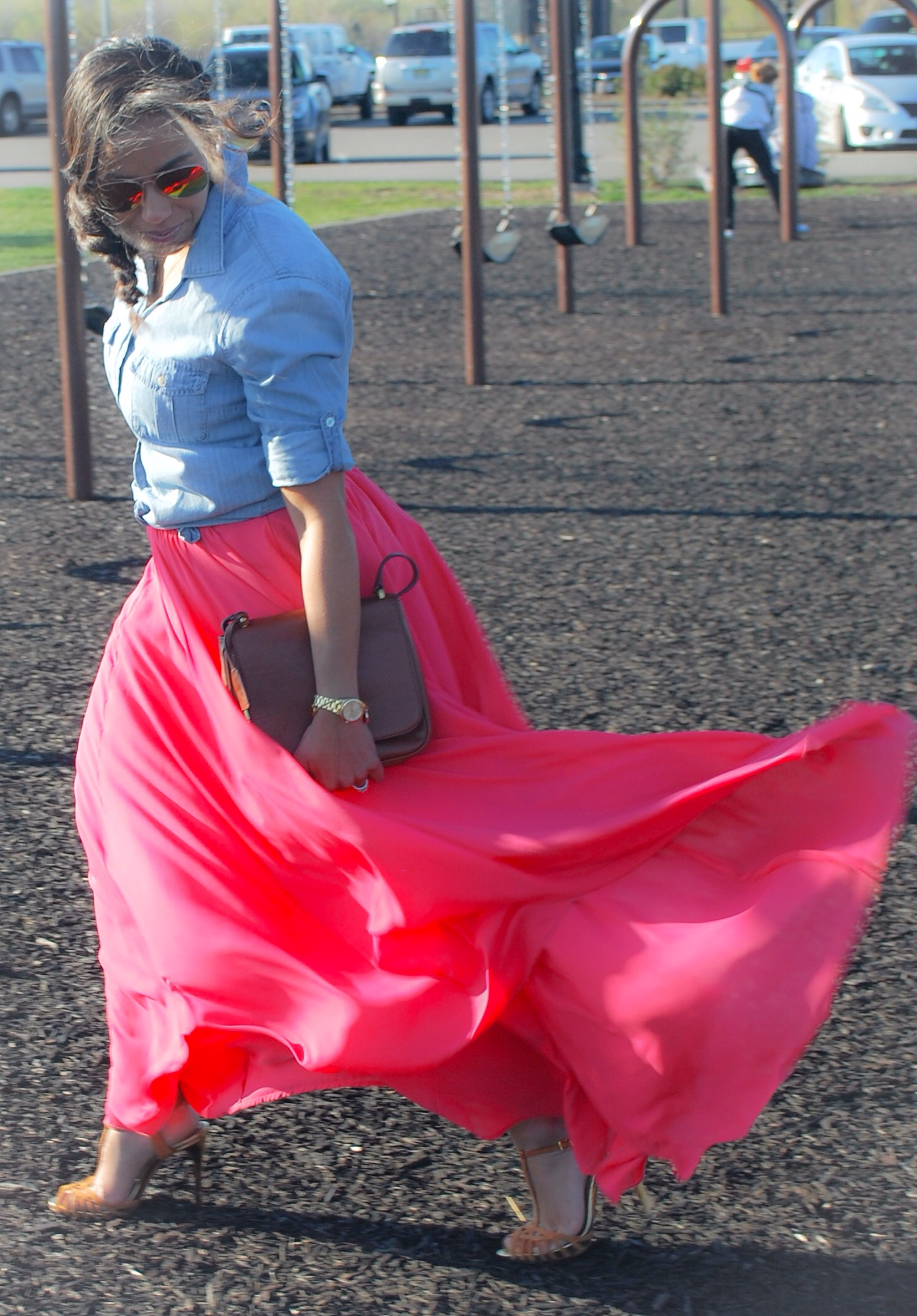 In the Park :: Chambray Shirt & Pink Maxi Skirt