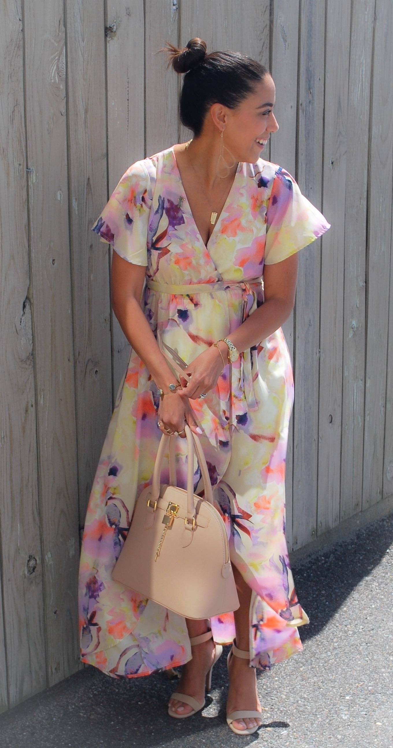 This Season's Gold // Long Floral Print Dress