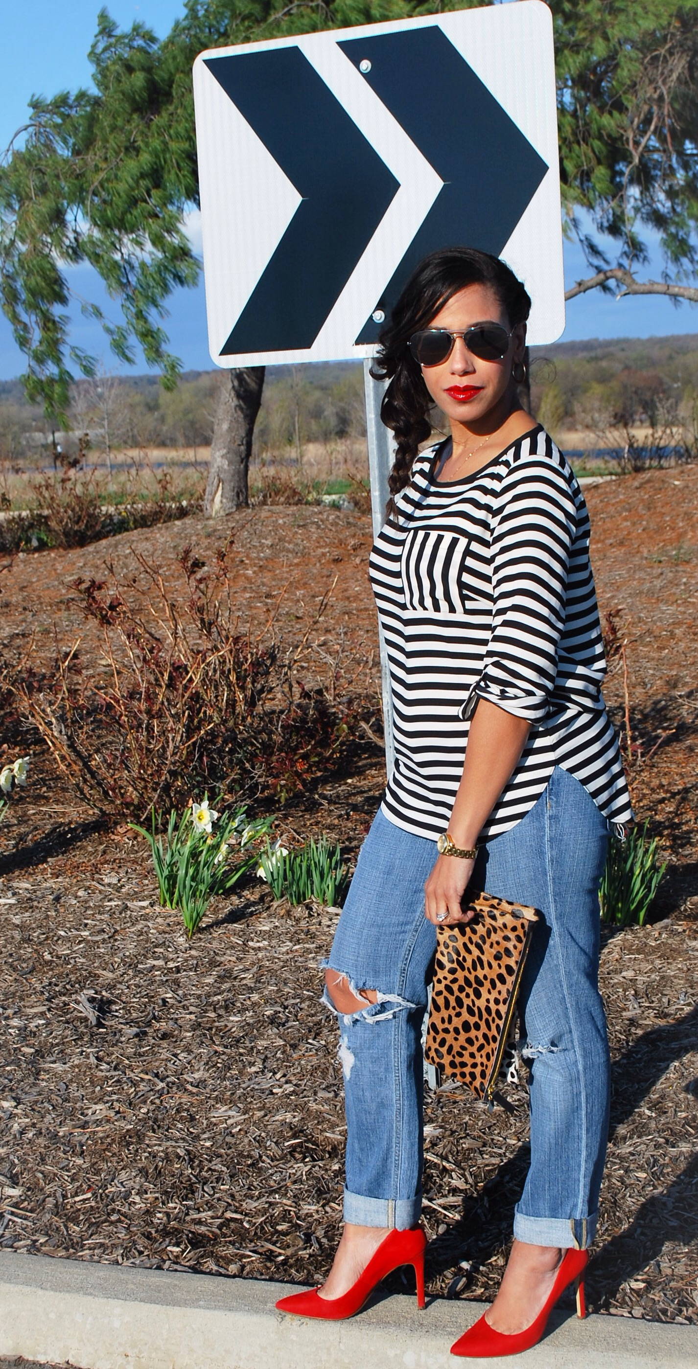 This Season's Gold // Black and white stripes with leopard print