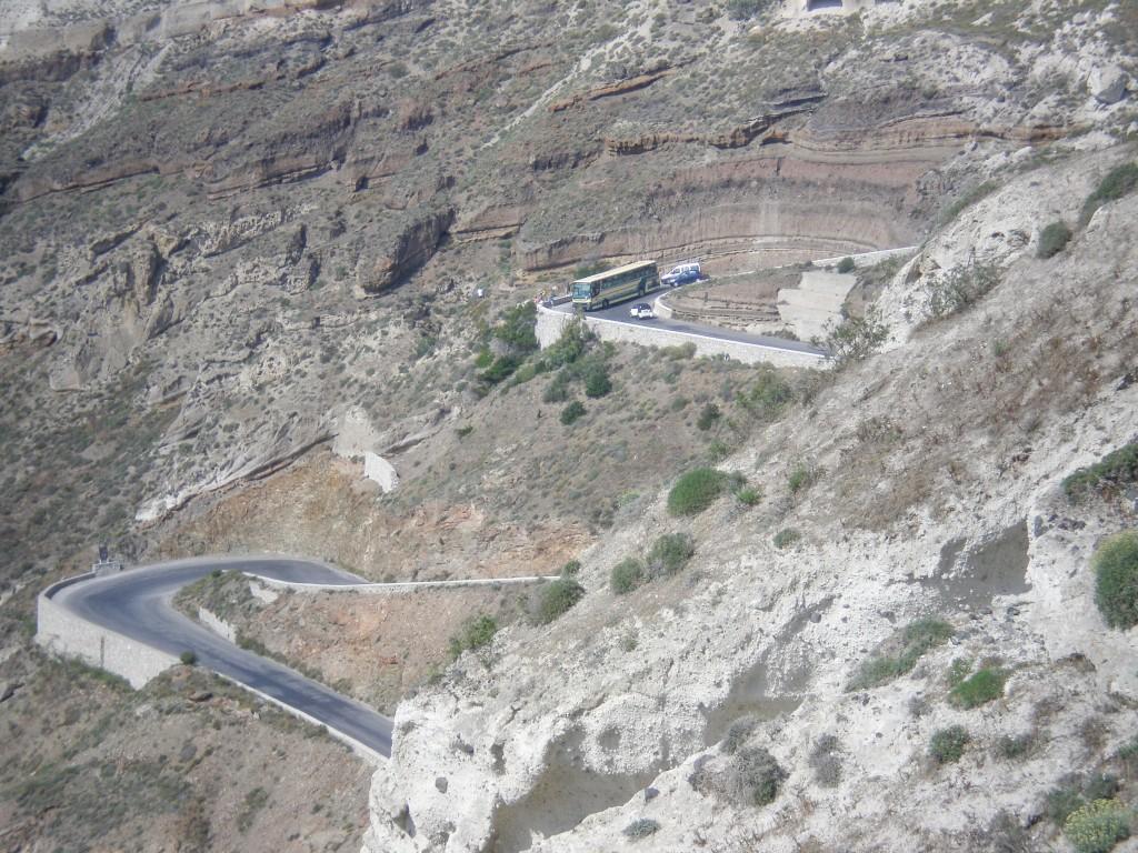 Cliffside roads in Santorini