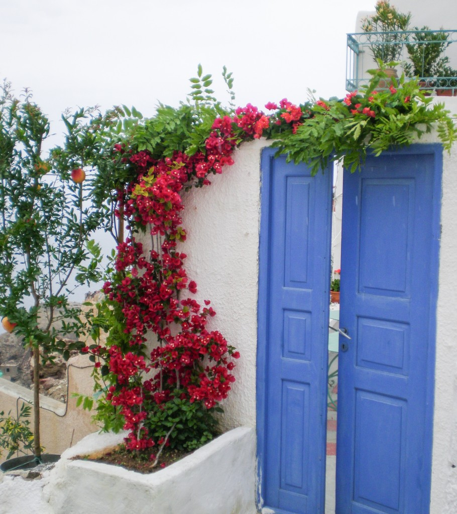 Blue Doors in Santorini