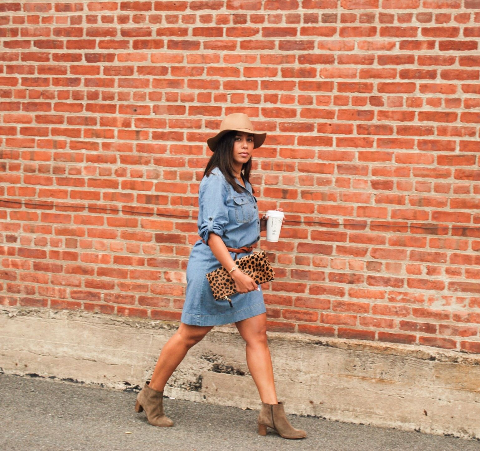 Denim shirtdress and ankle boots