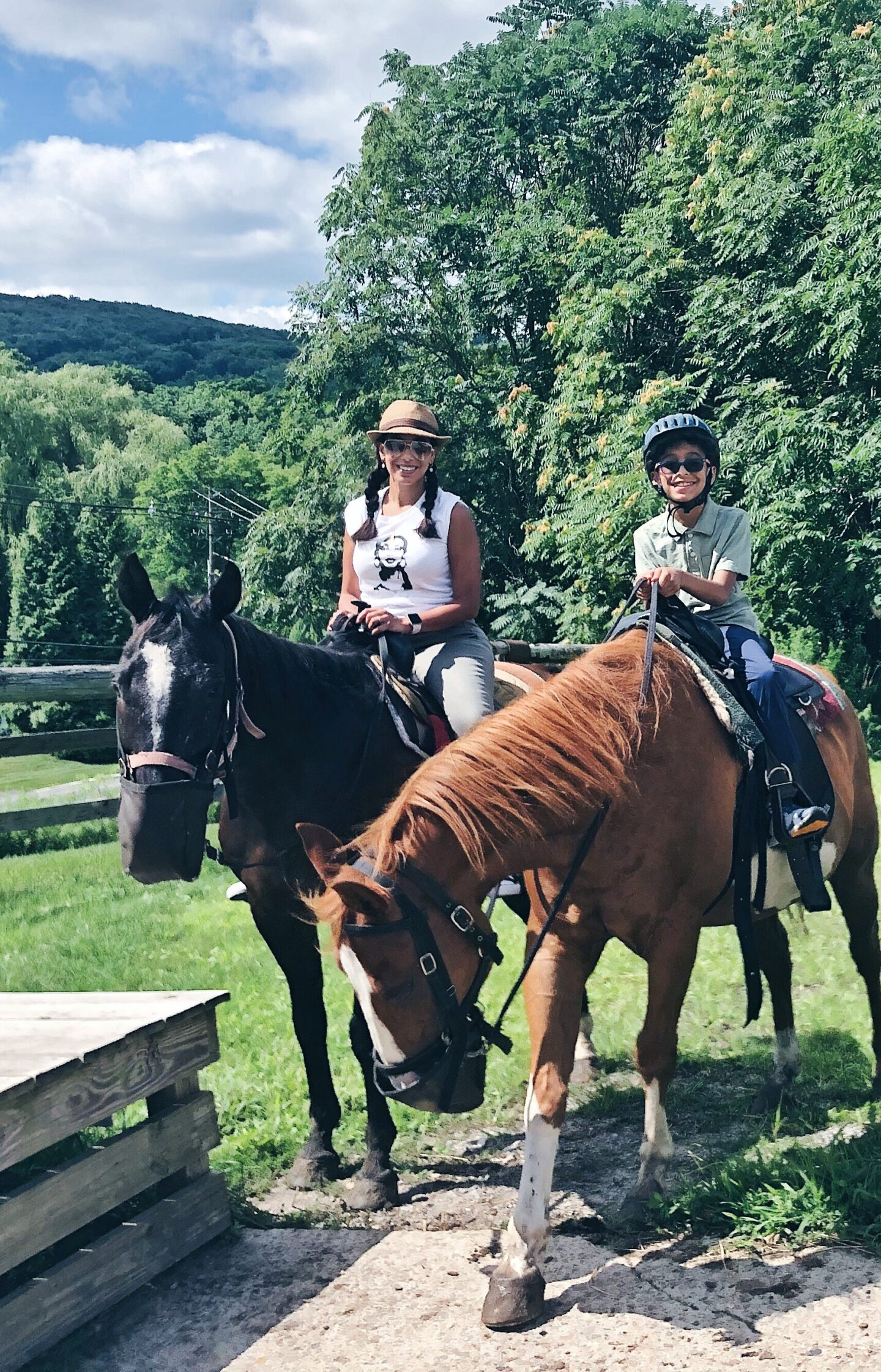 Mother and Son horseback riding