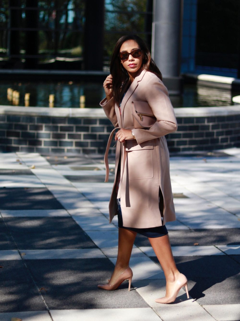 November Blooms // Floral Sheath & Pink Coat