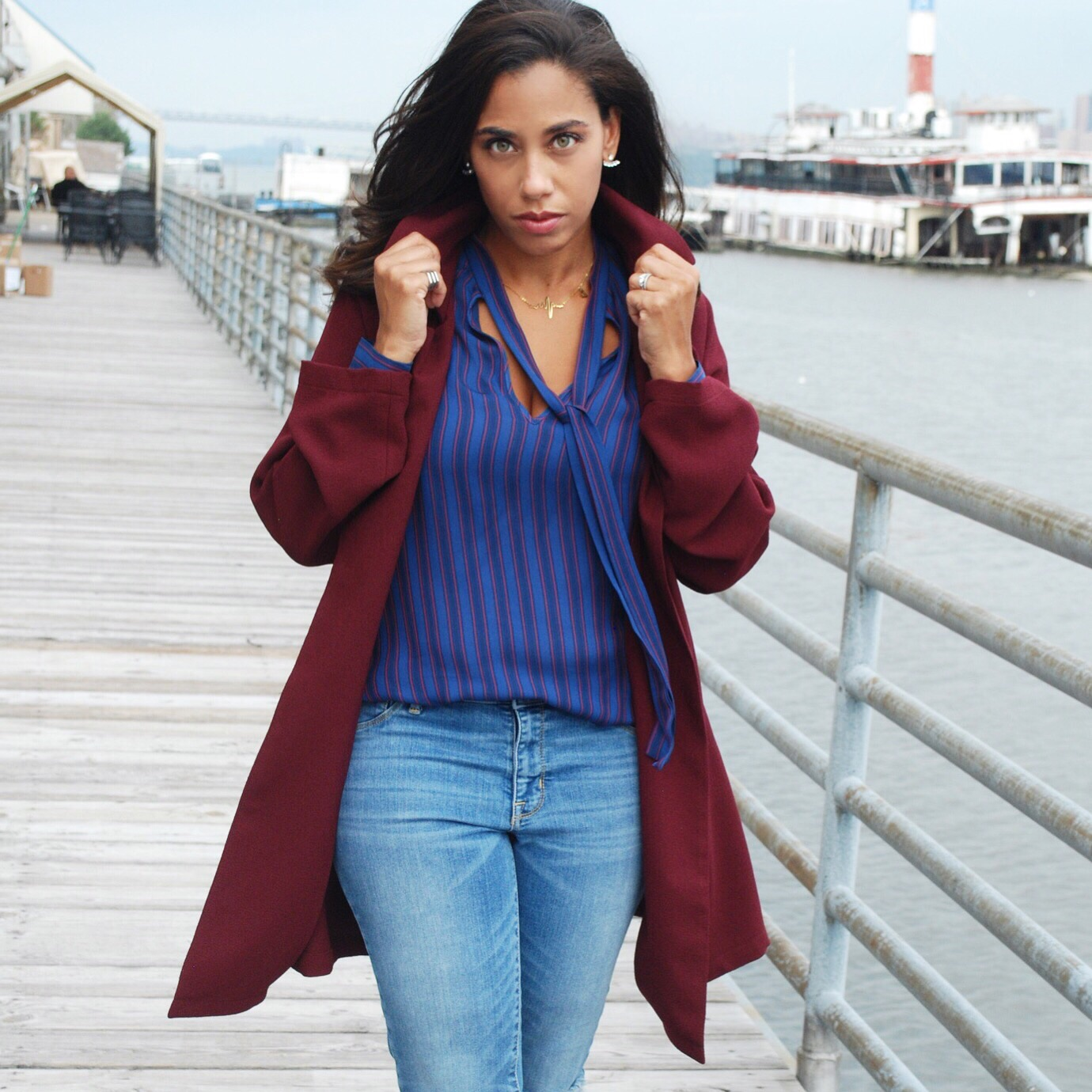 Burgundy and Blue outfit