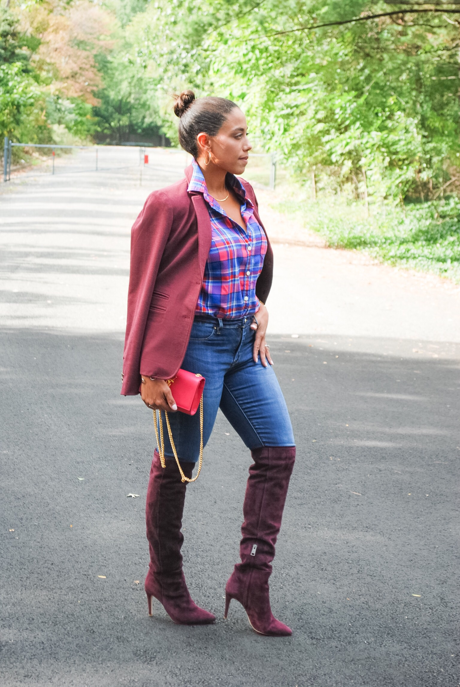 Burgundy Over the Knee Boots for Petite
