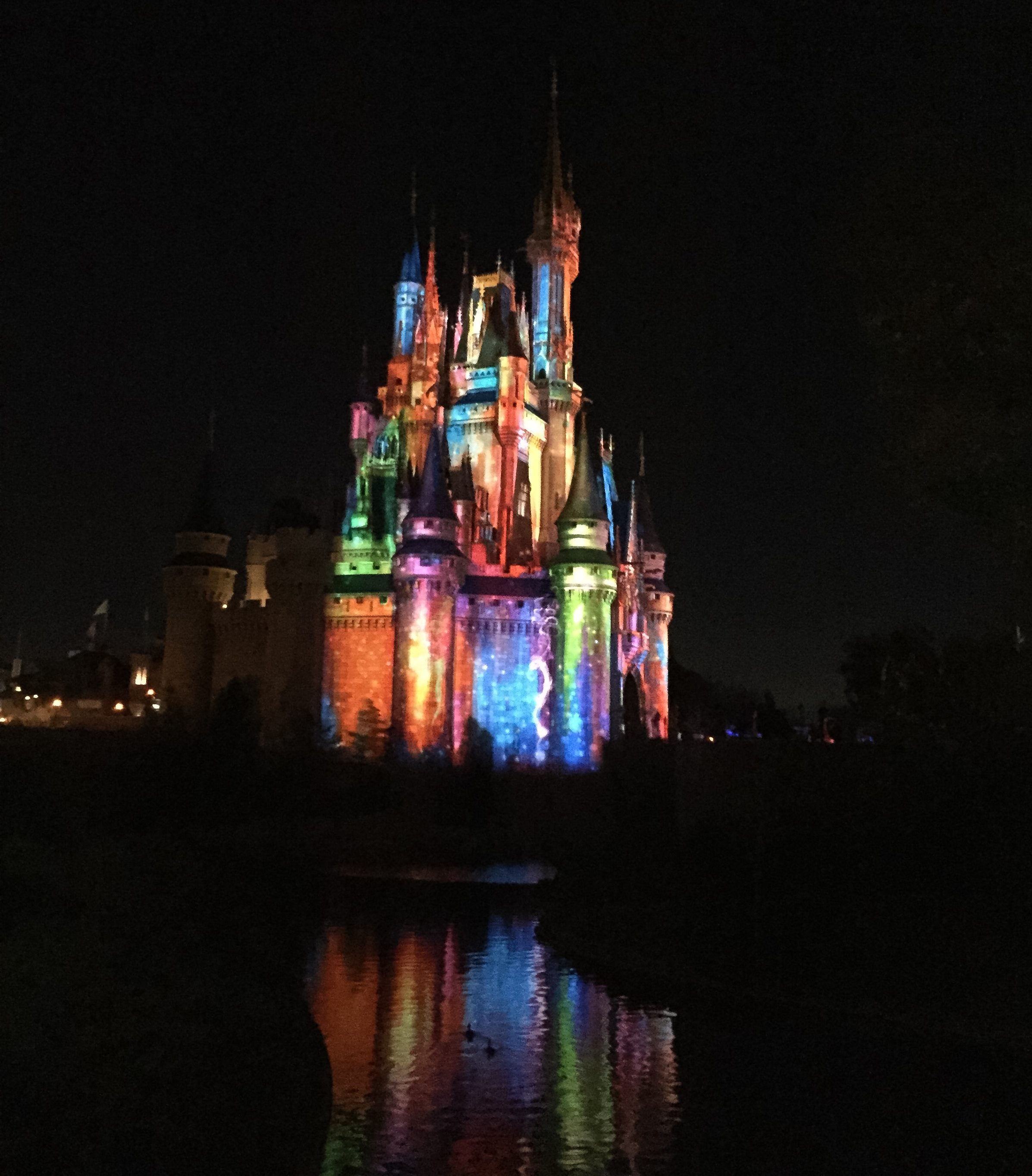 Cinderella's Castle in color at night