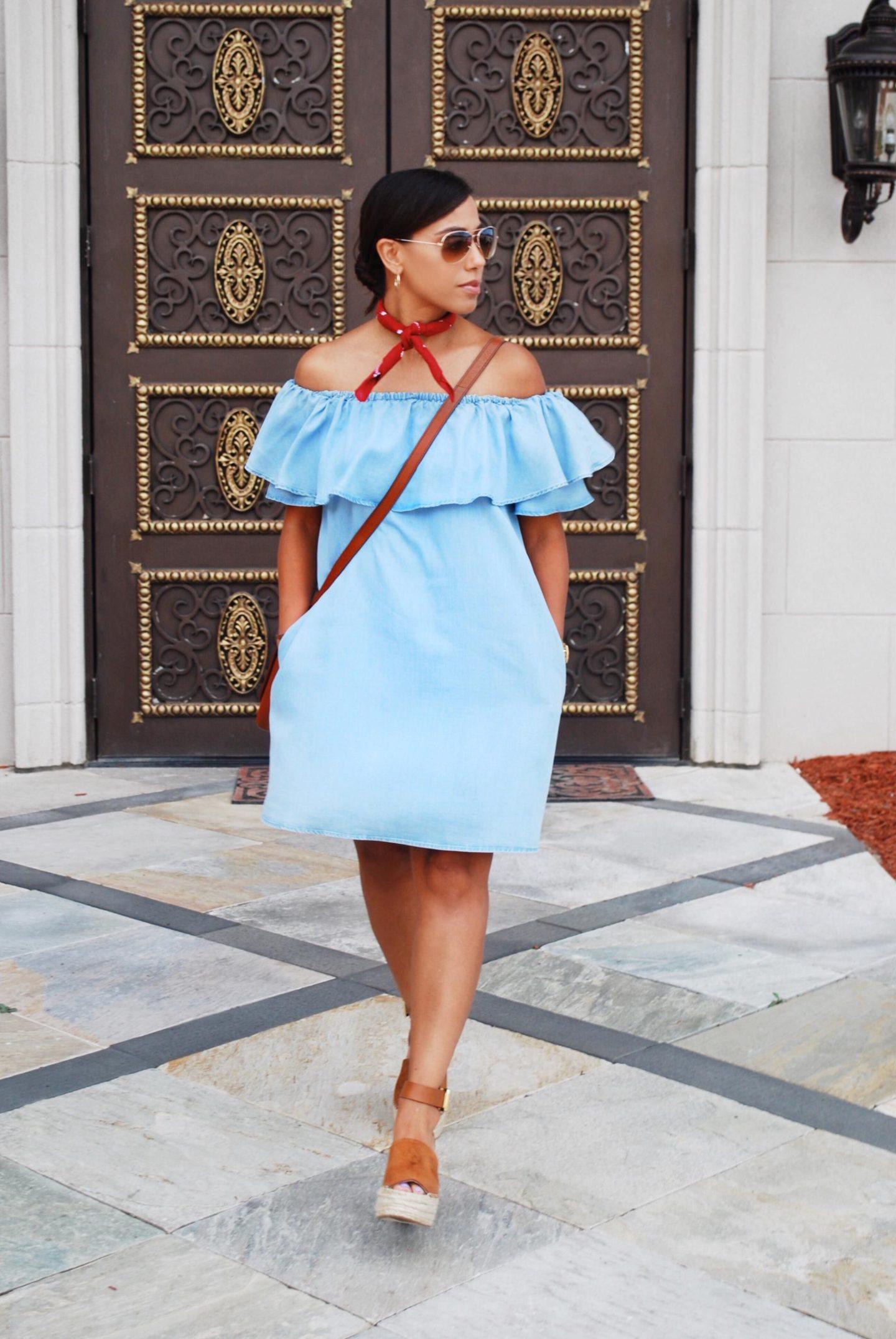 This Season's Gold // Ruffled Chambray Dress Summer Style