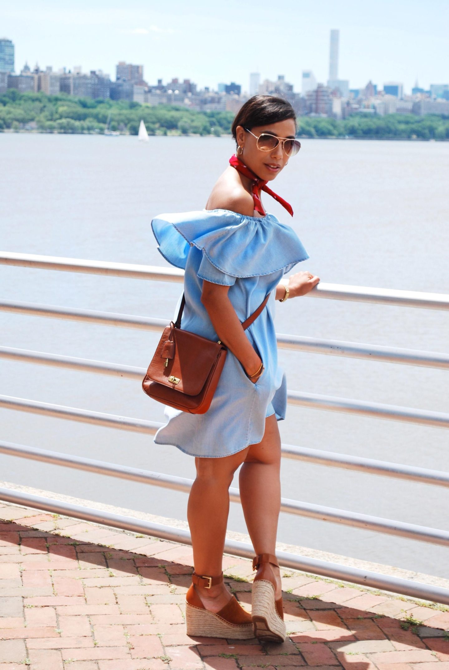 This Season's Gold // Ruffled Chambray Dress with pockets