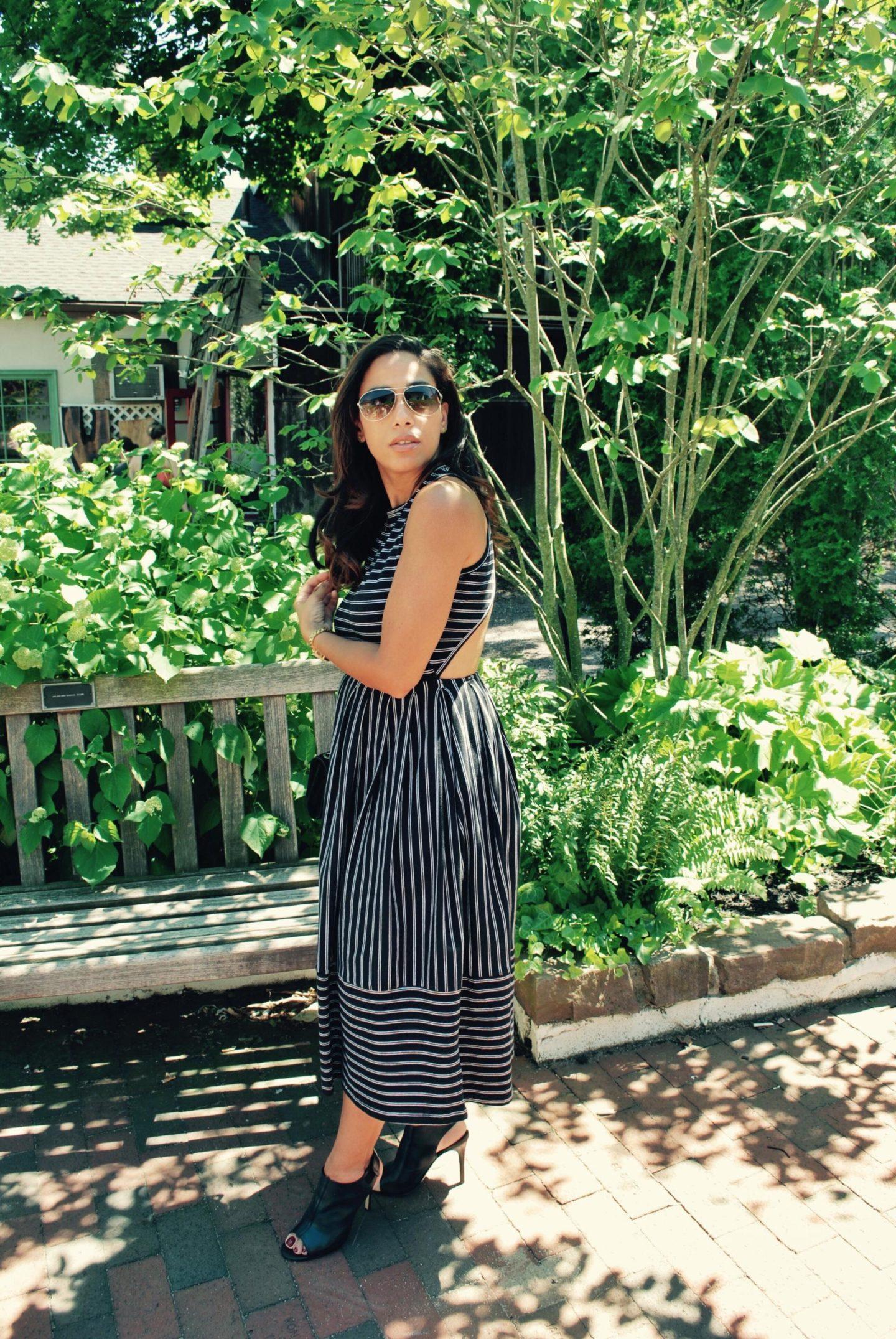 This Season's Gold // Long cross-back striped dress