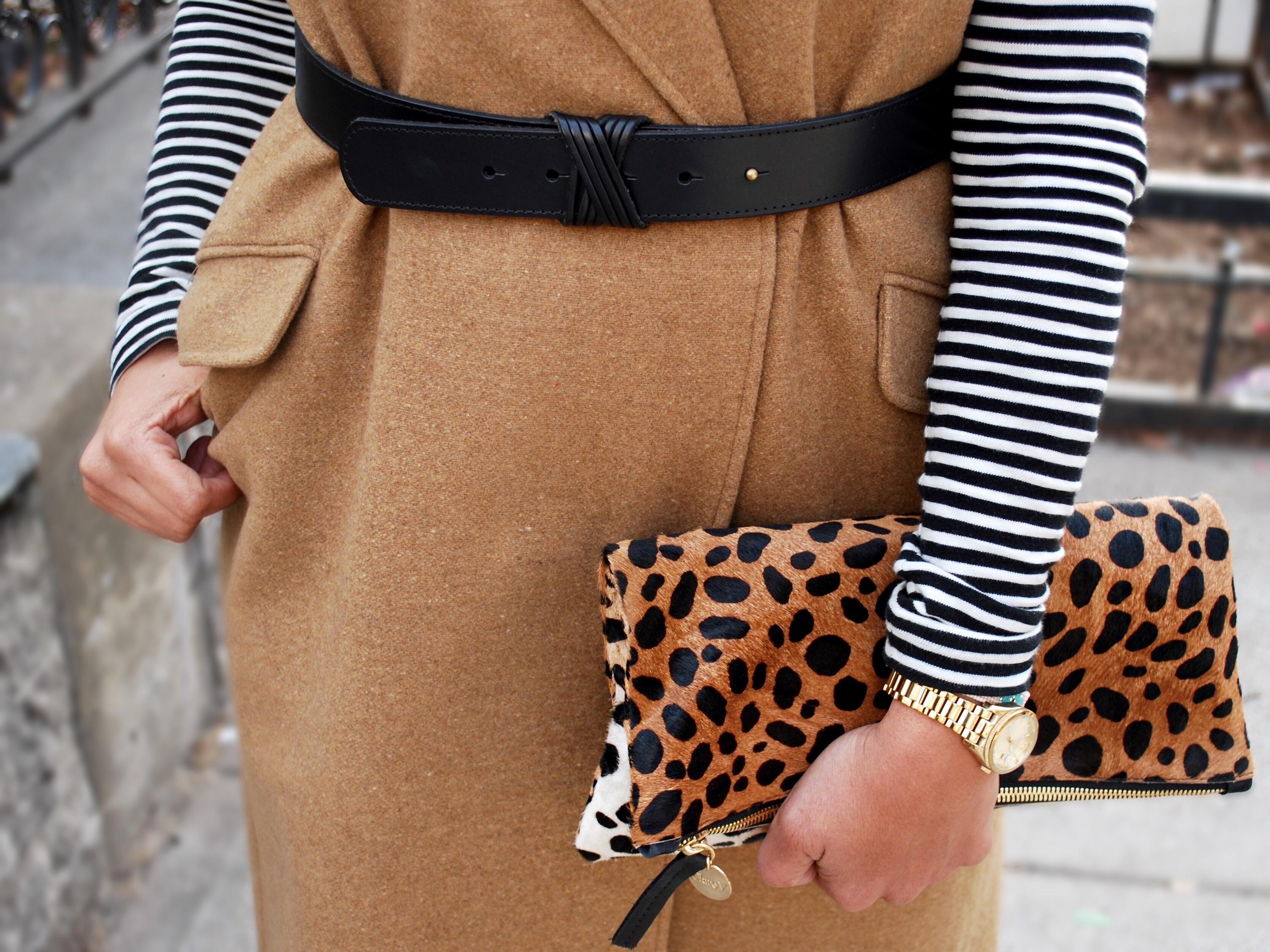 clare v leopard print clutch