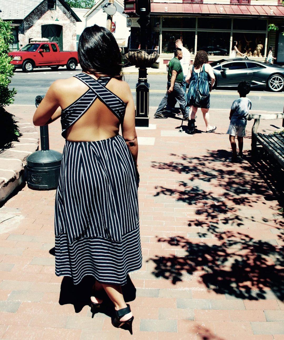 This Season's Gold // Long cross-back dress