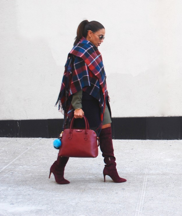 Navy and Wine Plaid Wrap