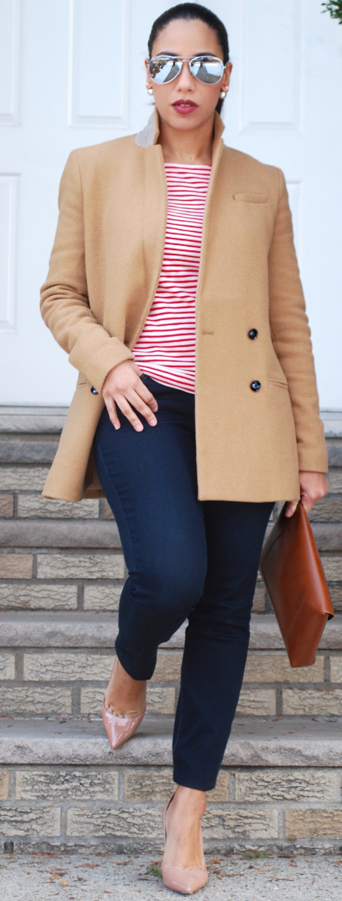 Camel blazer and red stripes
