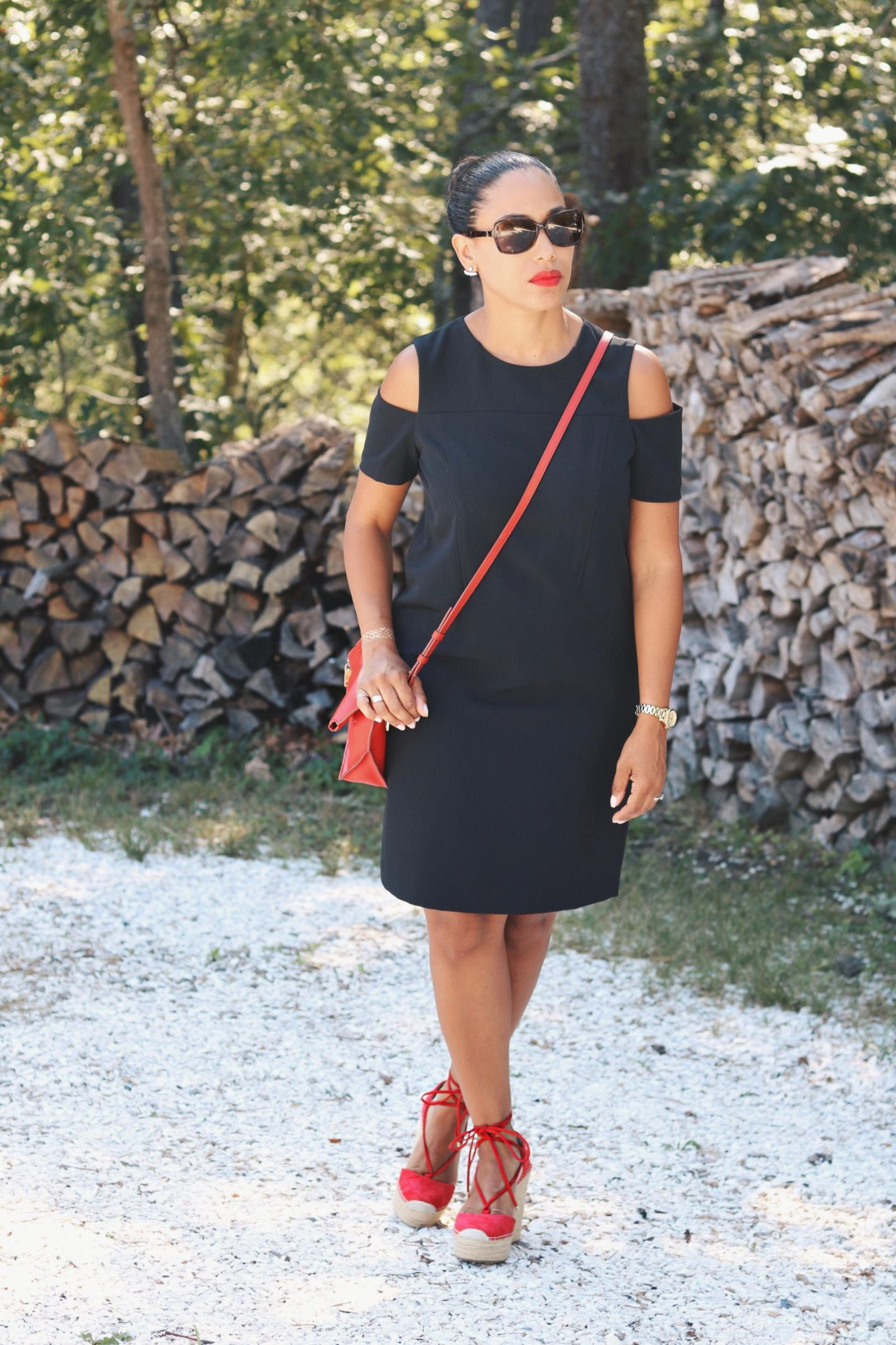 Fall Shoulder // LBD with a Pop of Red