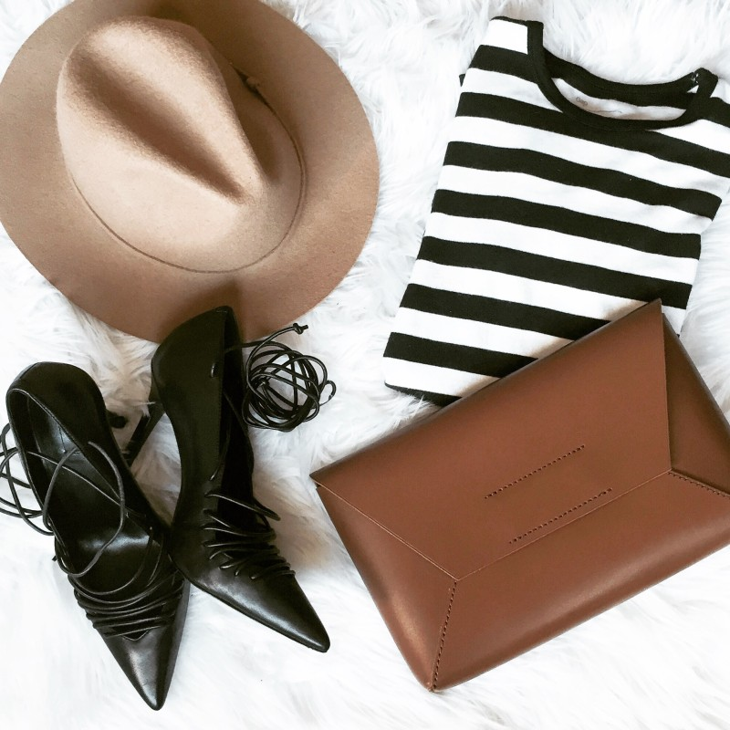 This Season's Gold // Brown and Stripes Flatlay