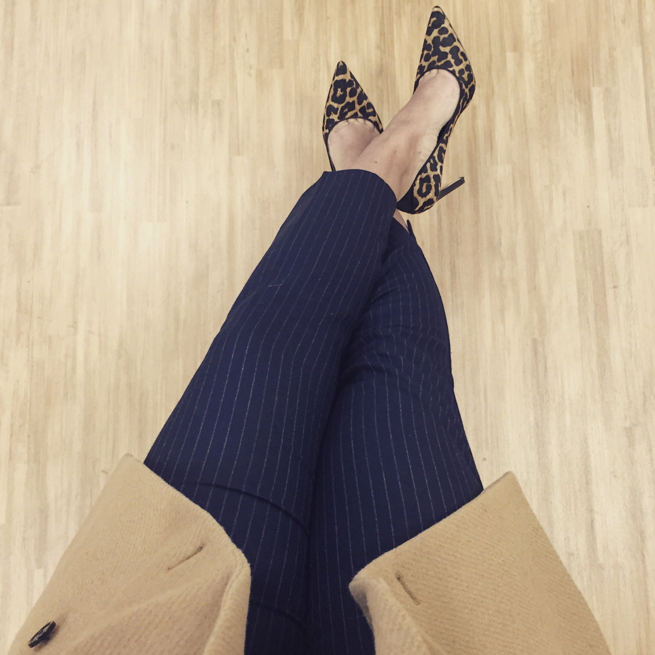 This Season's Gold // Pinstripes and Leopard print