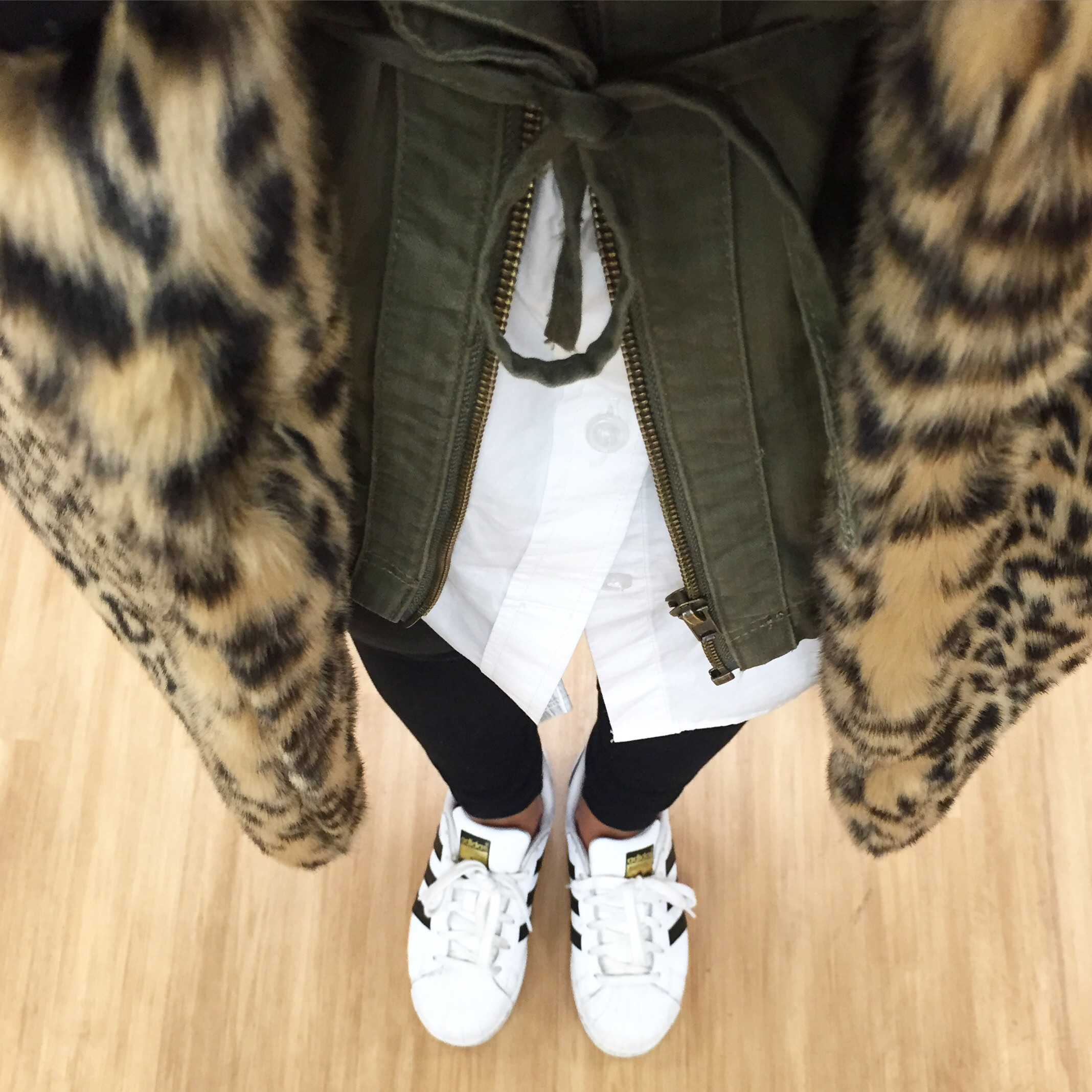 This Season's Gold // Leopard Print coat and Sneakers