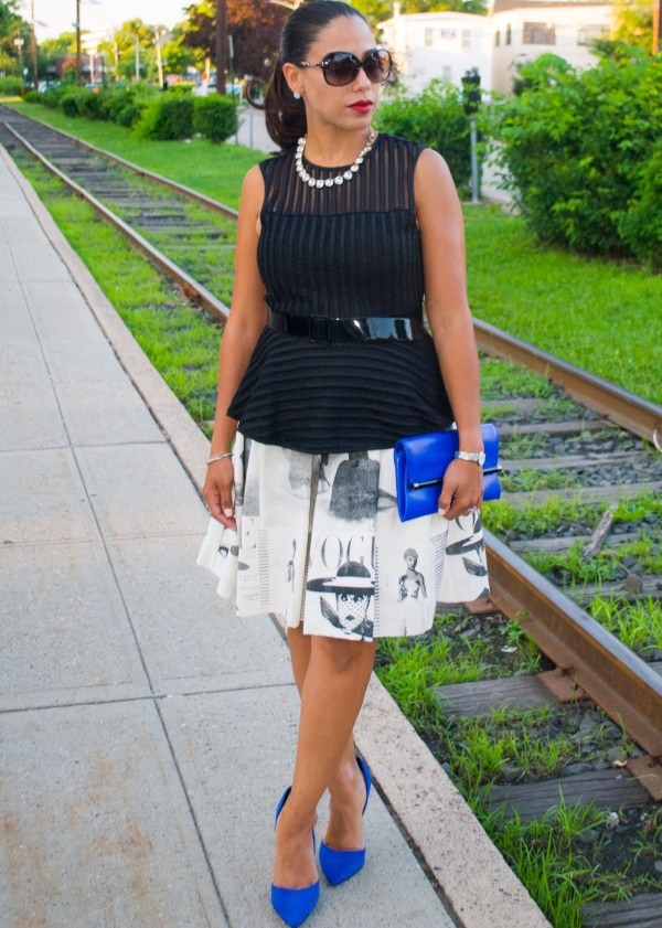 Rail Lines :: Peplum Top & News Print Skirt