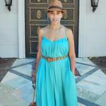 Summer Breeze :: Petite in Emerald Dress and Brown Fedora