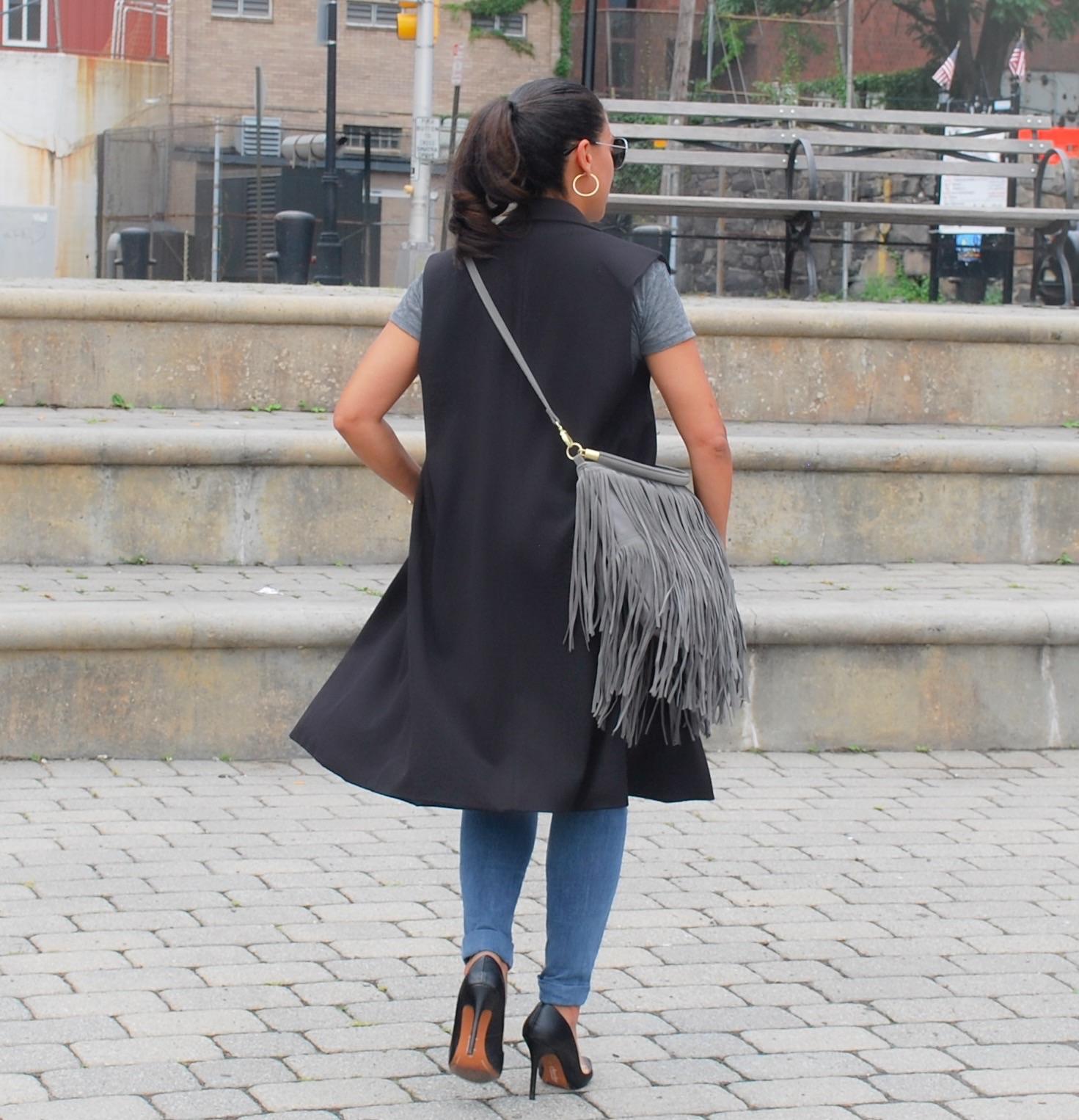 Grey Suede Fringe Bag
