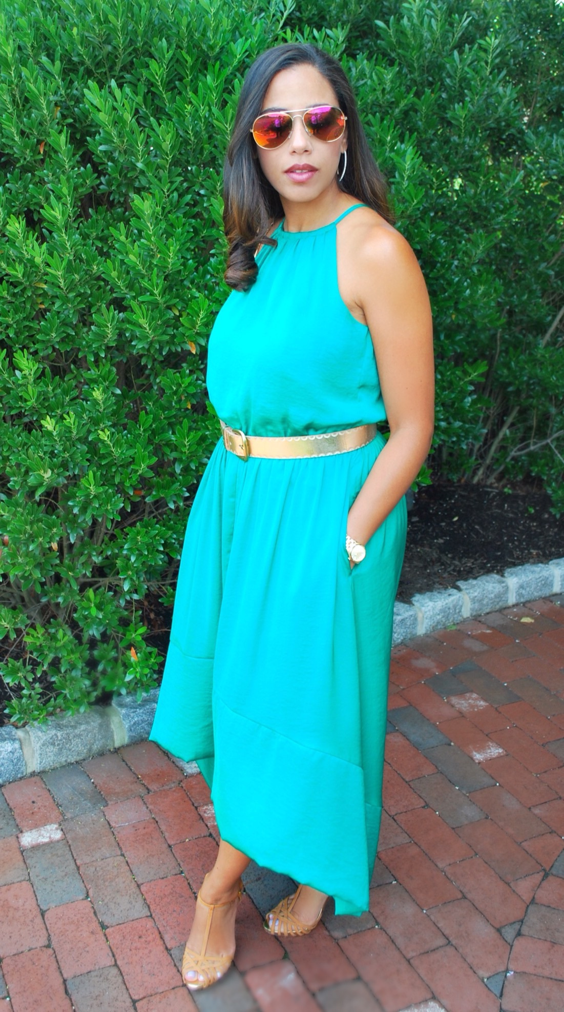 Green silk dress with gold belt