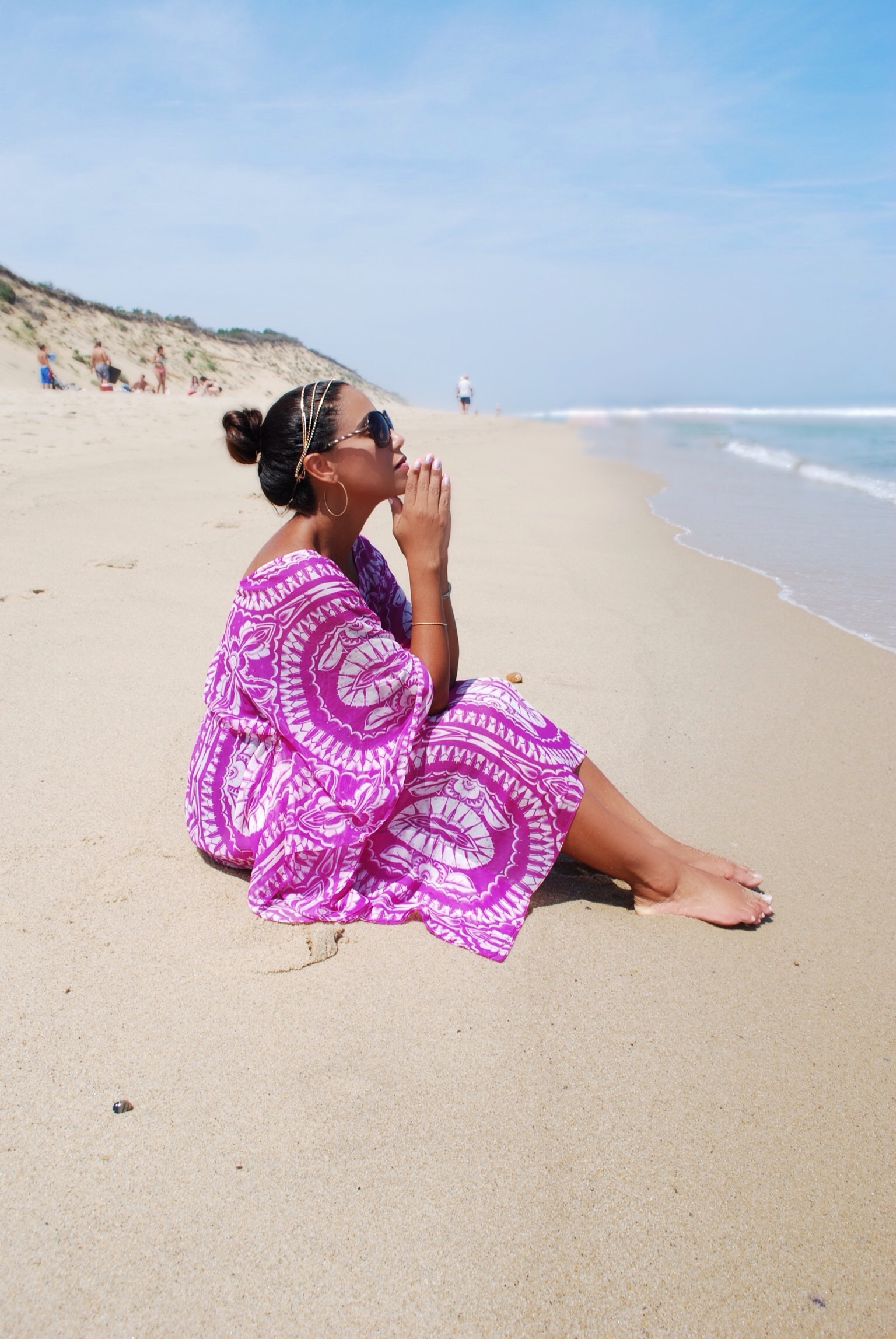 Swim cover up on the beach