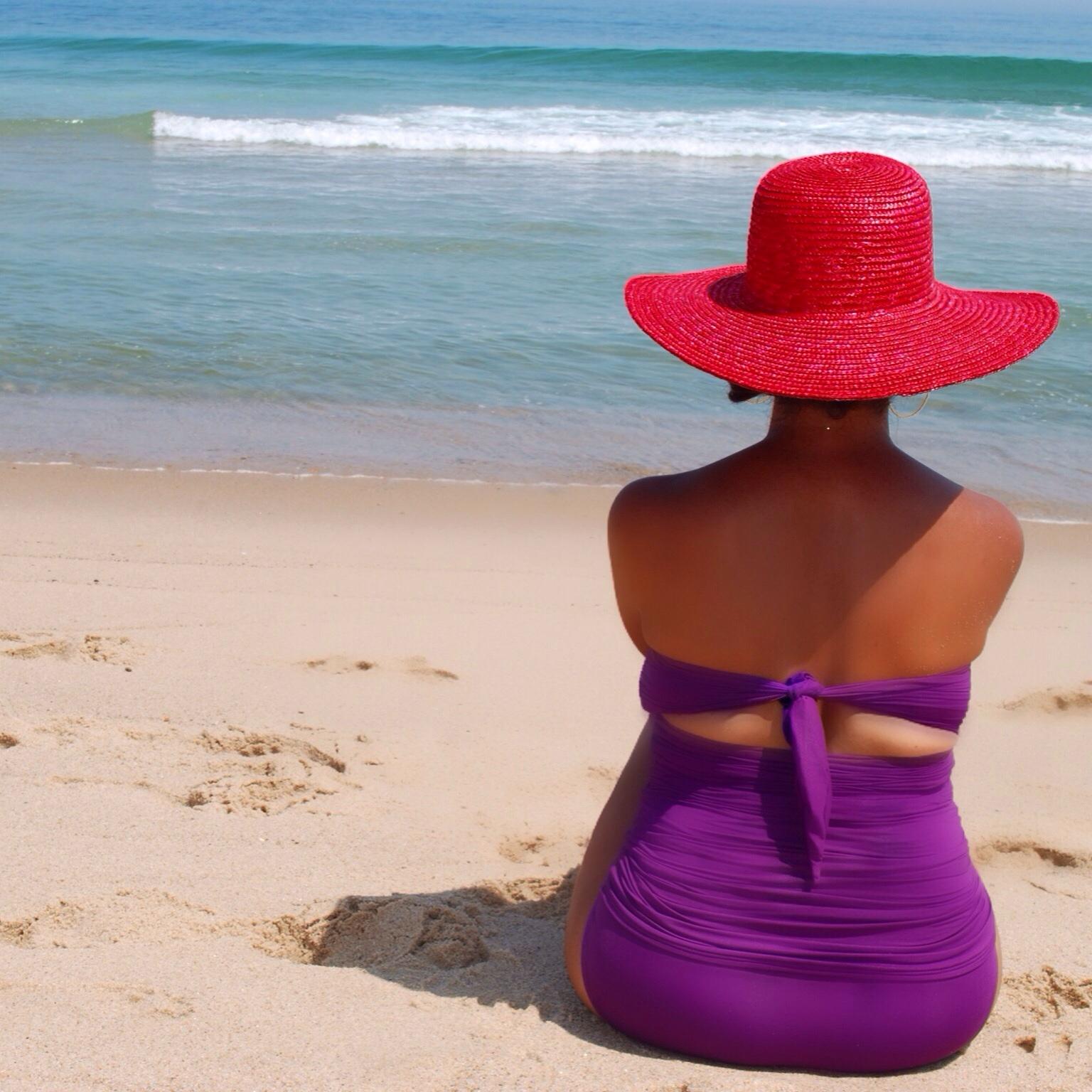 Red beach hat