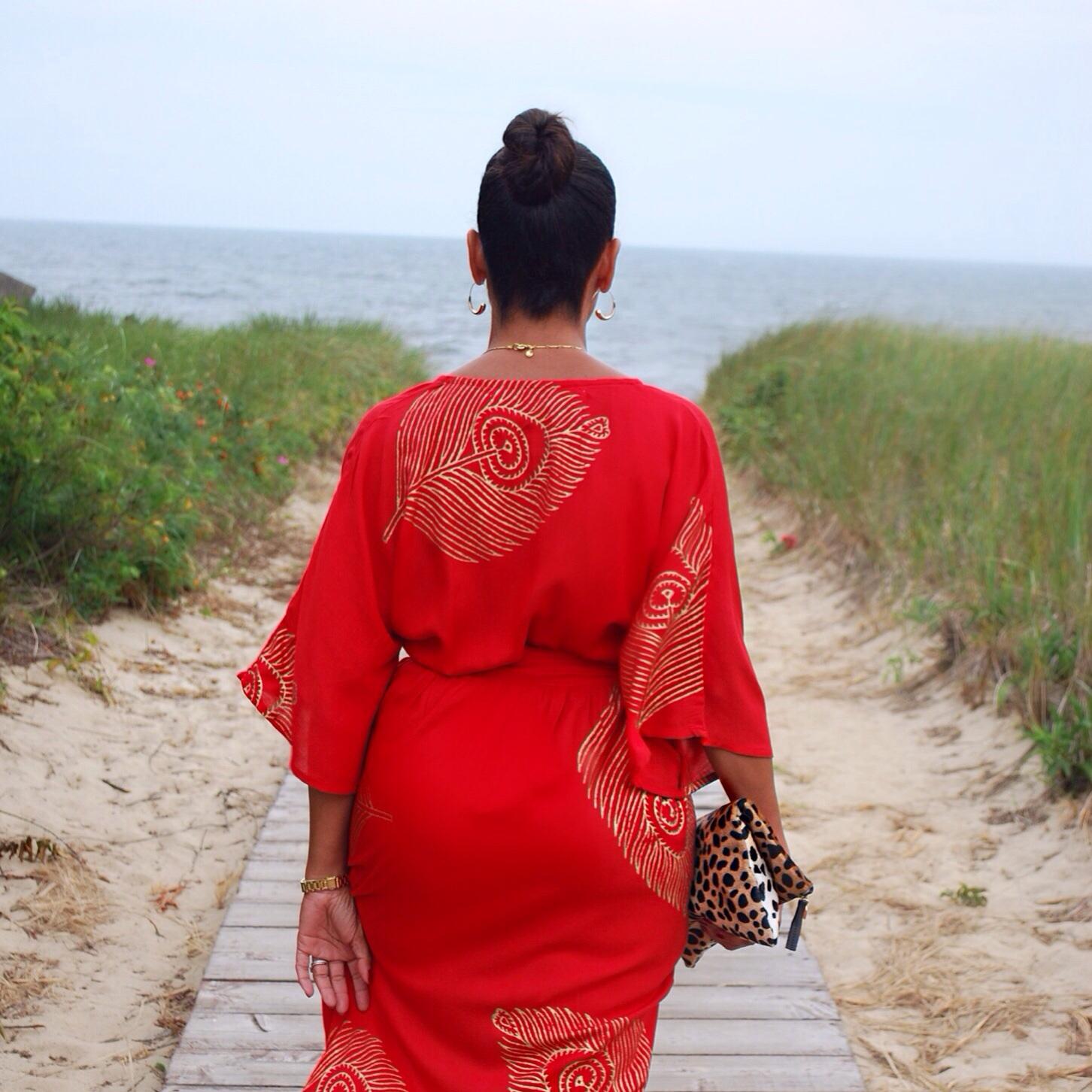 red kimono print dress