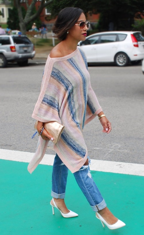 Closing out Summer:: Colorful Poncho & Red Kimono Dress