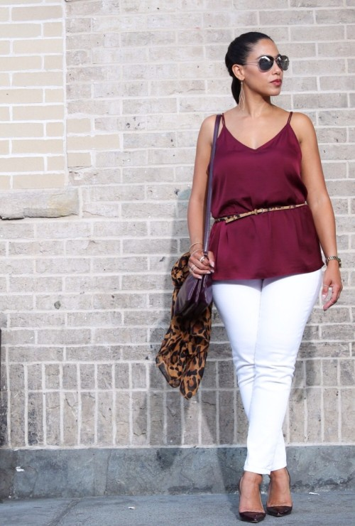 Rock Steady ::  White Jeans and Burgundy Wine Tank