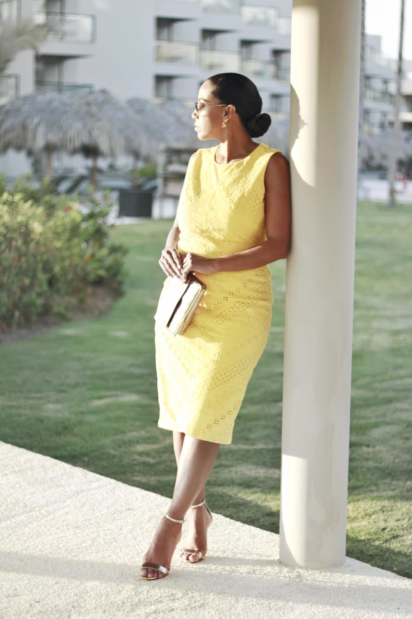yellow eyelet dress