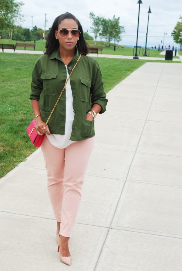 pink and green outfit