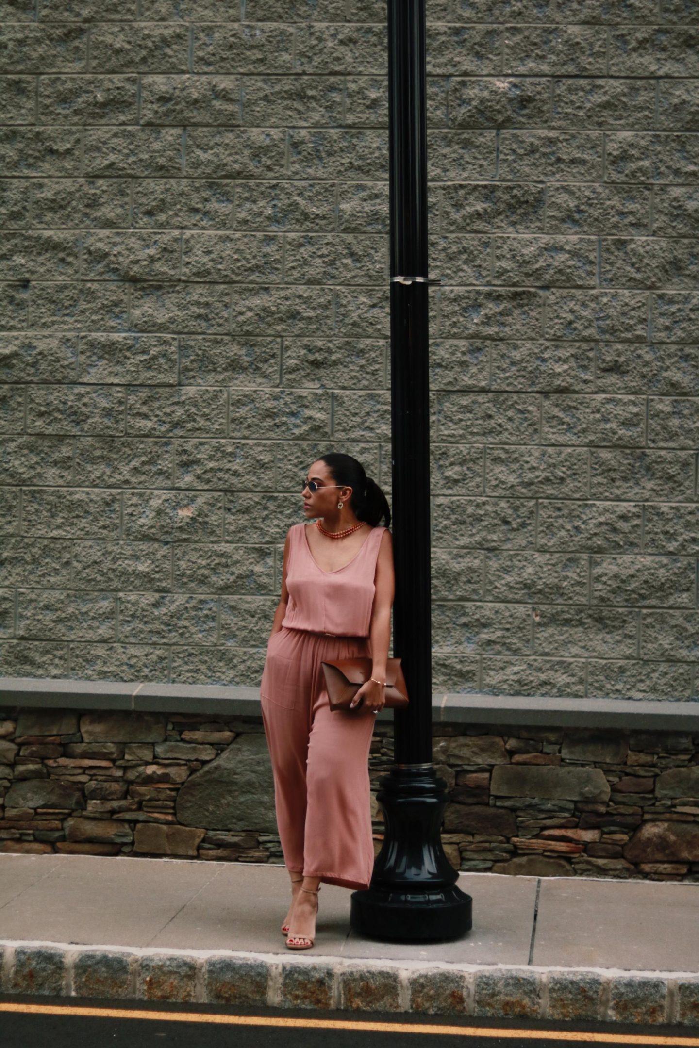 peach jumpsuit