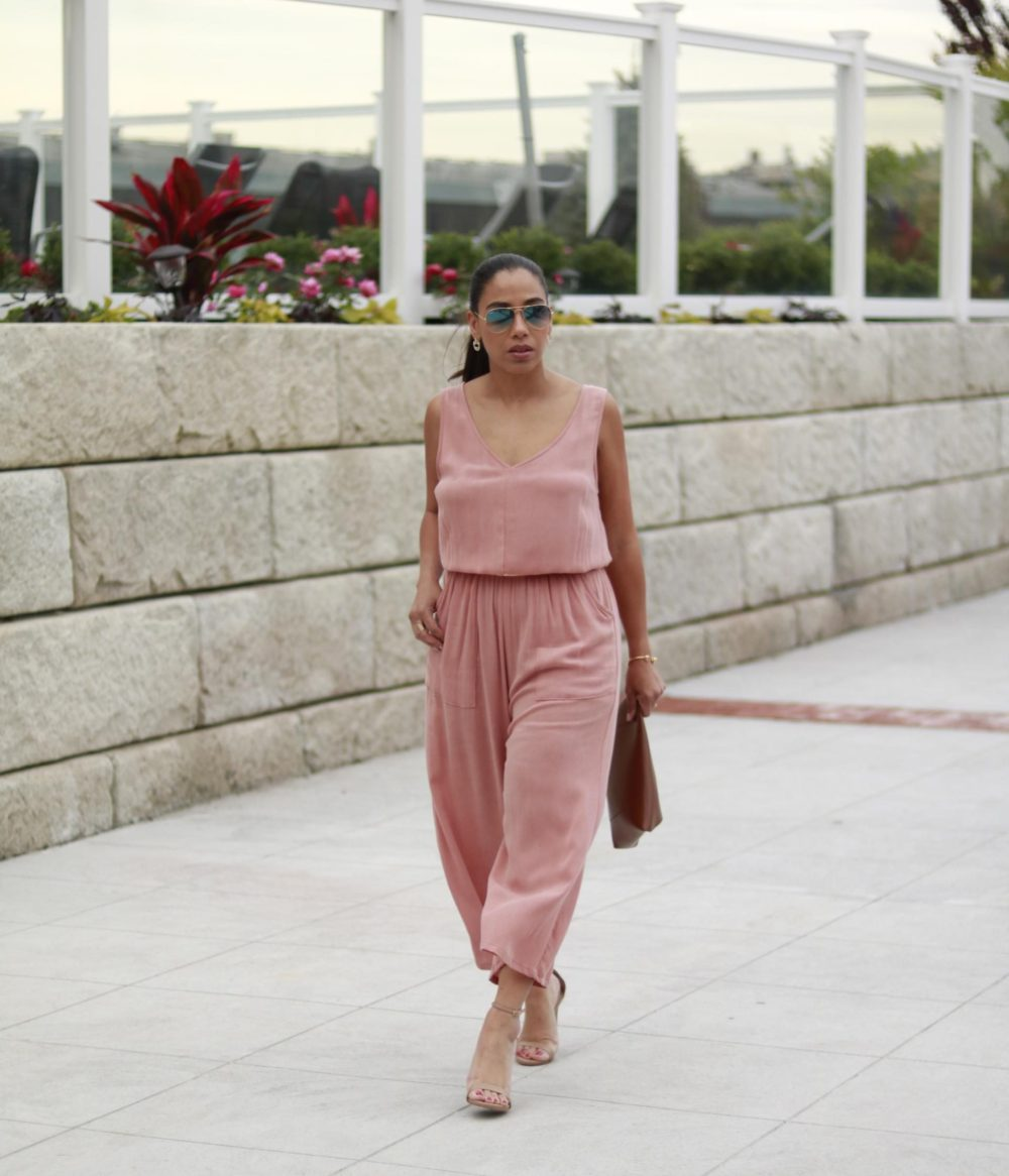 Summer Launch Event // Peach Jumpsuit & Nude Sandals