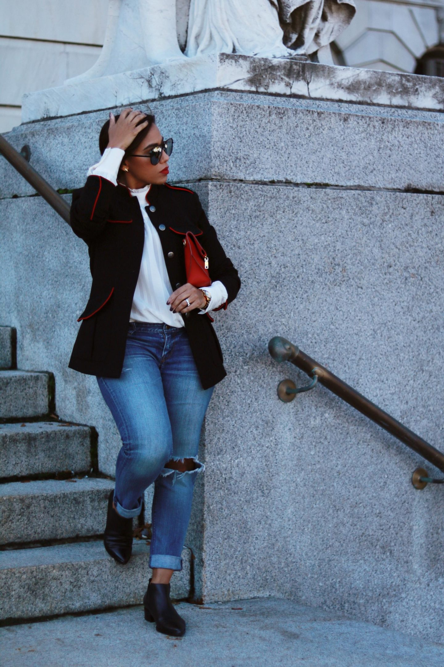 Military Jacket and Ruffle Collar