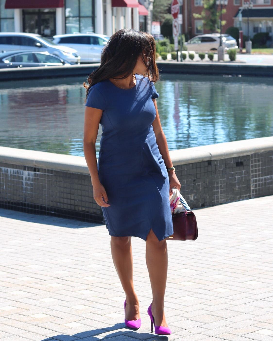 This Season's Gold // Blue Suede Dress