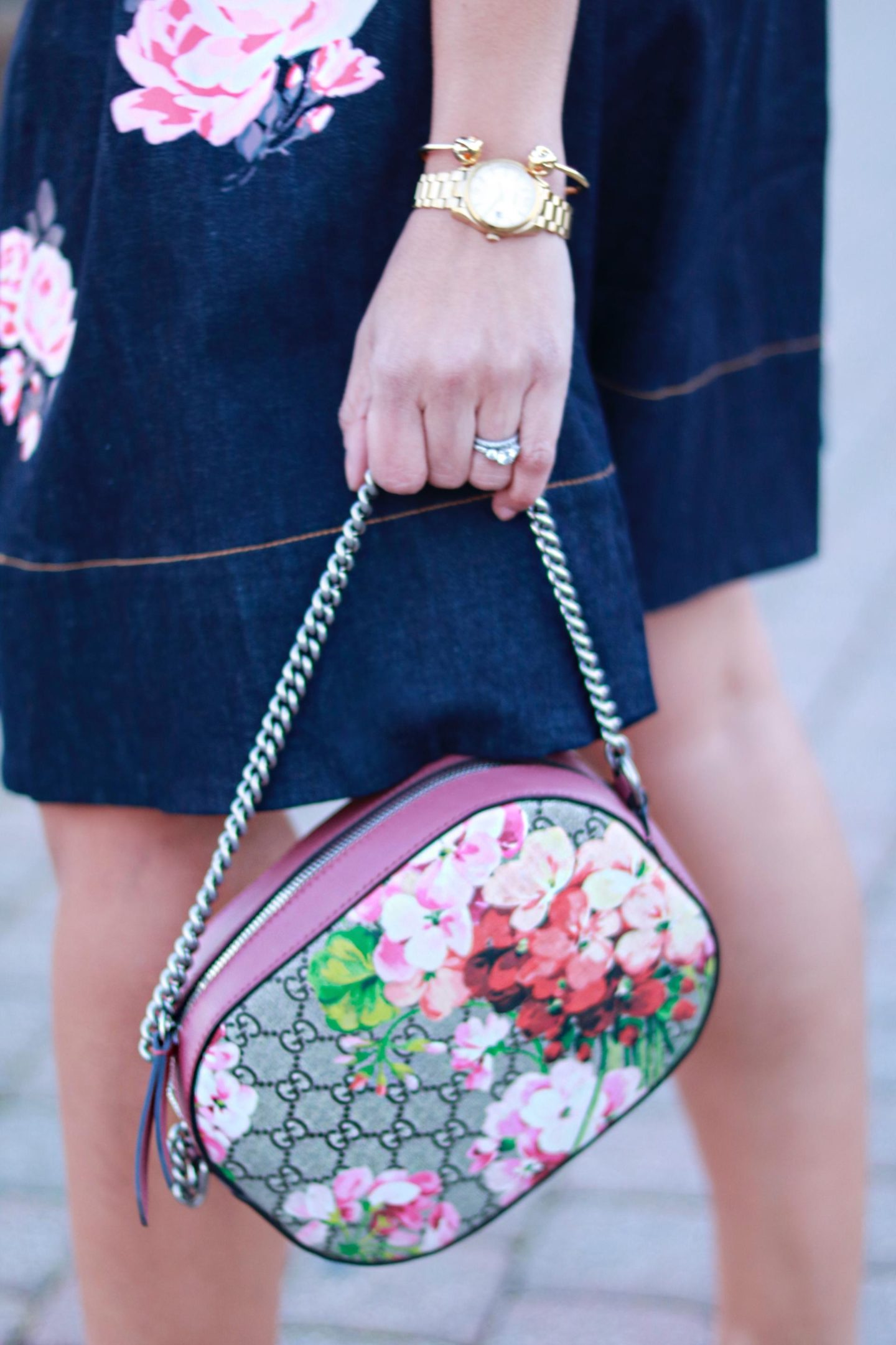 gucci flowers and denim