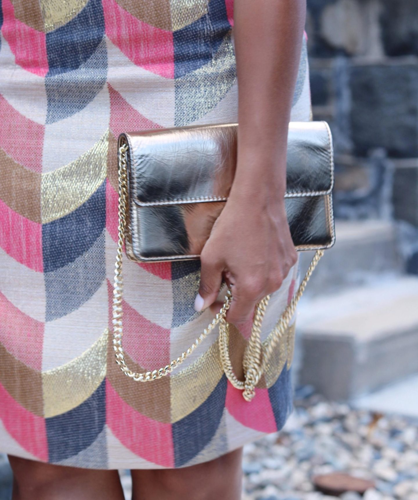 This Season's Gold // Gold clutch and chain bag