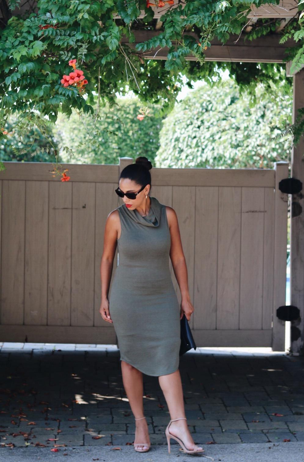 This Season's Gold // Olive cowl-neck dress